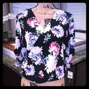 2/$30 Sale! BCX Floral Faux Wrap Blouse